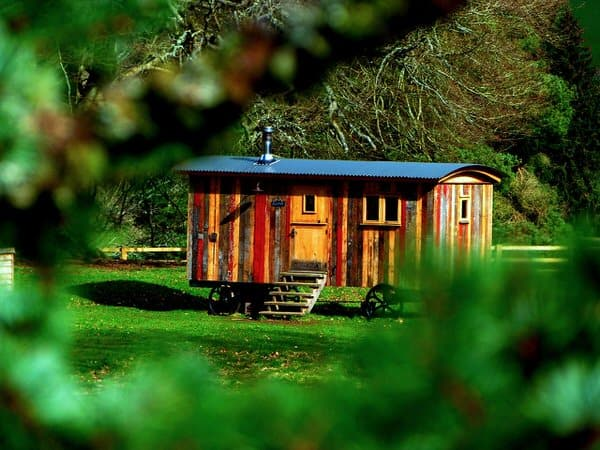 tiny house in retirement+colorful-wood