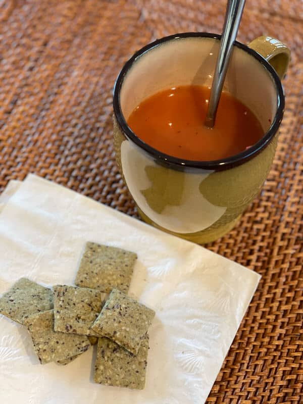 FMD experience+tomato soup kale crackers
