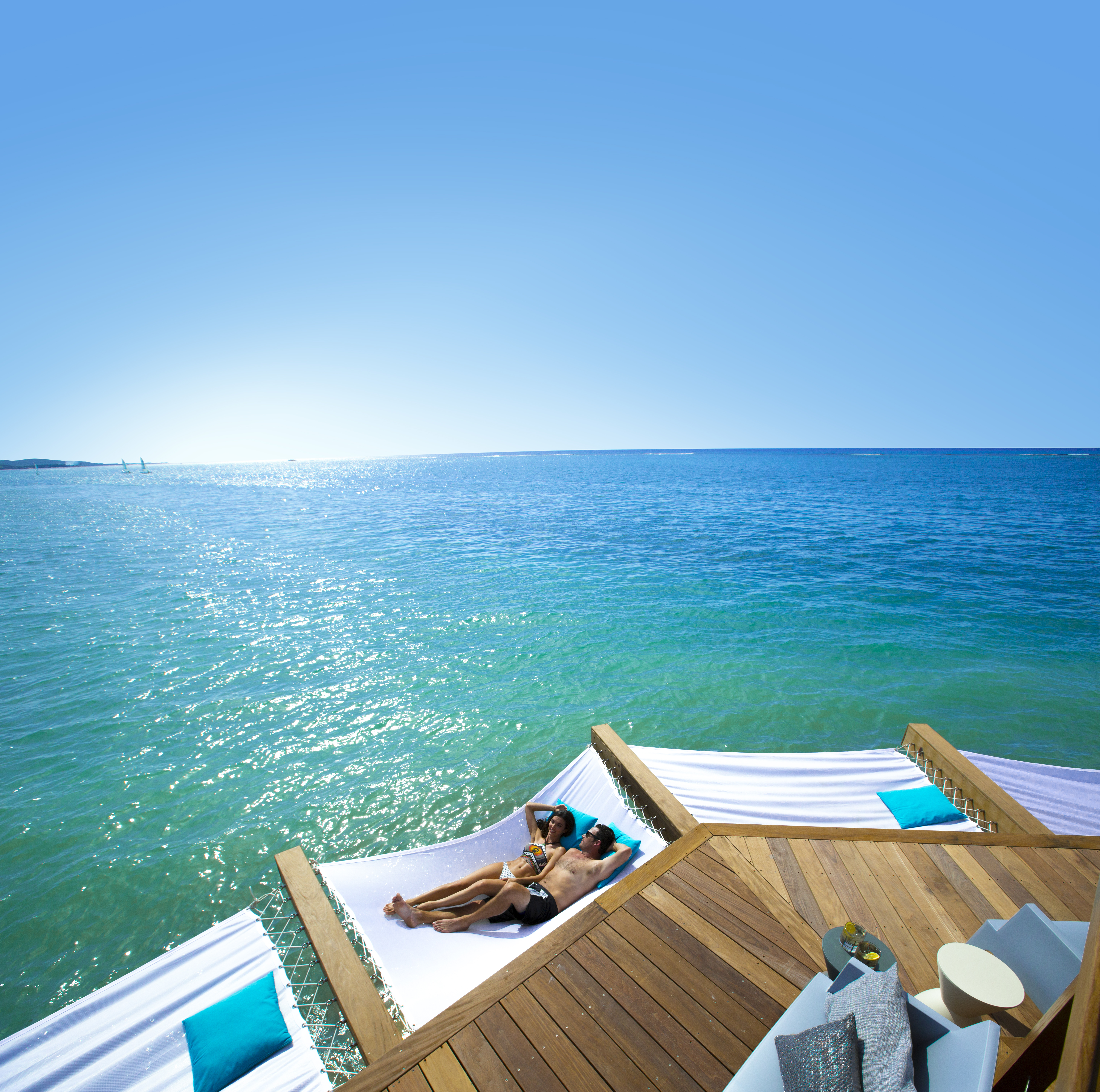 Sandals South Coast Latitudes Over-the-Water Bar Hammock Couple