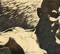 All Have Sinned, by Judah Fansler. Wood cut, screen print
