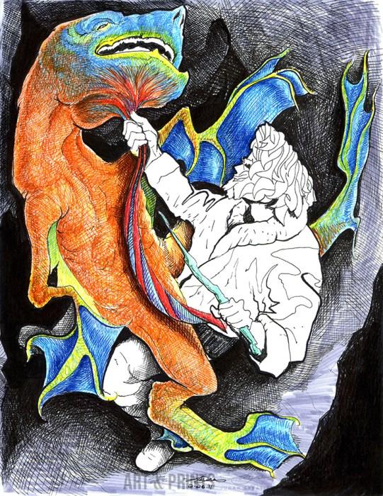 Beowulf Memoirs by Judah Fansler. Marker, ink pens