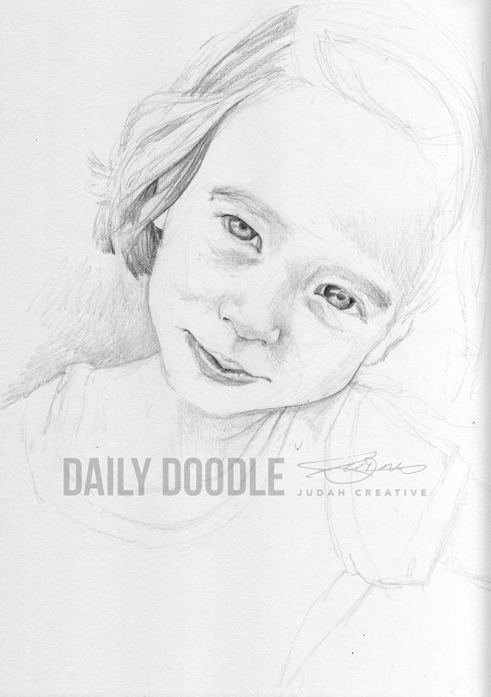100213 Portrait Study: Shiloh Sketch 2 - phase 1 by Judah Fansler, Artist & Owner at Judah Creative, a full service graphic design & Illustration studio near Branson, MO