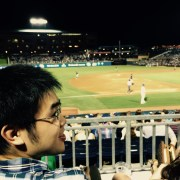 Yi Hong takes in a DBulls game his first week in lab, August 2016