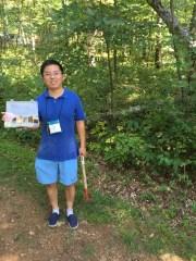Dr. Zhi-Lin Yuang from Hangzhou, China collects fungi at NAMA in Front Royal VA, September 2016