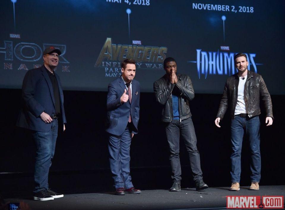 Kevin Feige, Robert Downey Jr., Chadwick Boseman e Chris Evans no #MarvelEvent