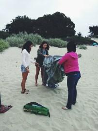 "Mina brought this beach ""cave"" tent."
