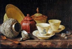 Pieter Gerritsz van Roestraten (Dutch Golden Age painter, 1627-1698) A Yixing Teapot and a Chinese Porcelain Tete-a-Tete