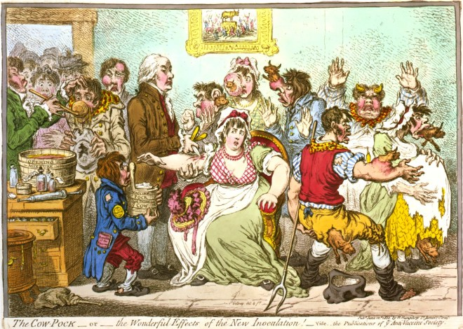 Would people innoculated with cowpox become cows? The cartoonist James Gillray lampooned the fear.