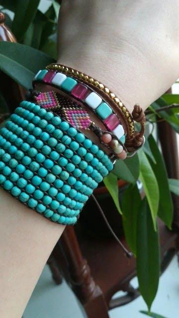 Boho Magic - Seed beaded Cube Beads Bracelet