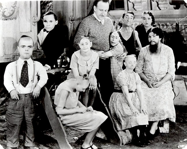 Famous publicity photo for Freaks, featuring much of the cast with director, Tod Browning