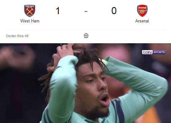Liga Inggris 2018/2019 West Ham Vs Arsenal 1-0