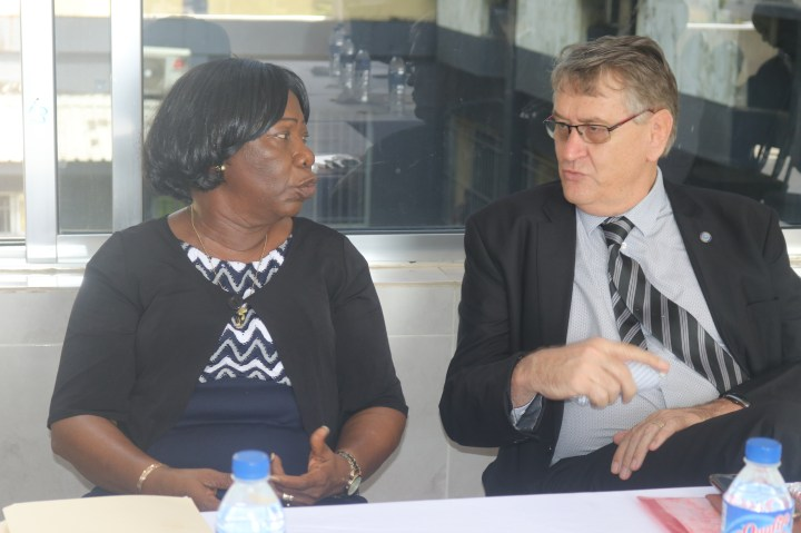 CA Cllr. Nelson chats with UNMIL DRSG for Rule of Law
