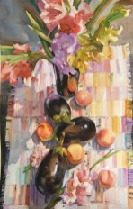 Speaking About Eggplants - 40x25 - watercolor - $1200
