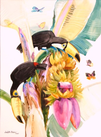Tucans Admire Butterflies - 22X30 - watercolor - $950