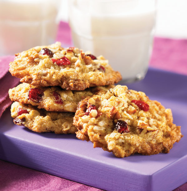 Chewy Oatmeal Coconut Cookies with Cranberries and Pecans