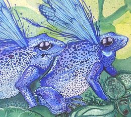 blue frogs stamp