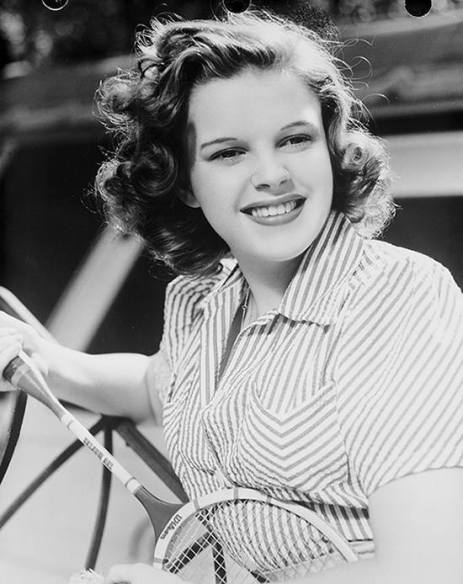 Judy Garland with tennis racket
