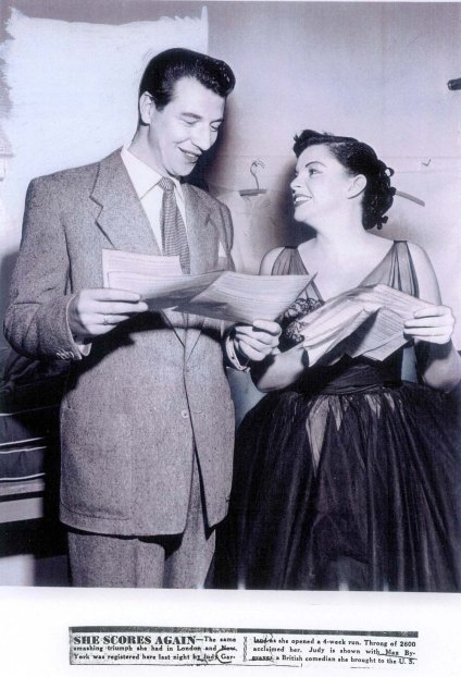 Judy Garland and British comedian Max Bygraves after her opening at the Los Angeles Philharmonic April 21, 1952