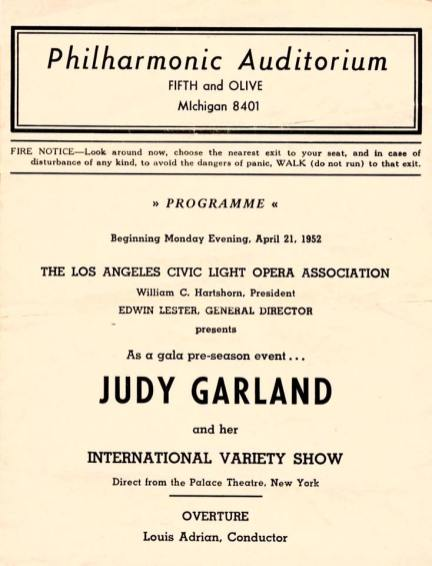 Program for Judy Garland's opening at the Los Angeles Philharmonic April 21, 1952