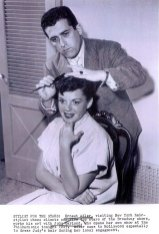 Judy Garland and hair stylist Ernest Adler before Judy Garland's opening at the Los Angeles Philharmonic April 21, 1952