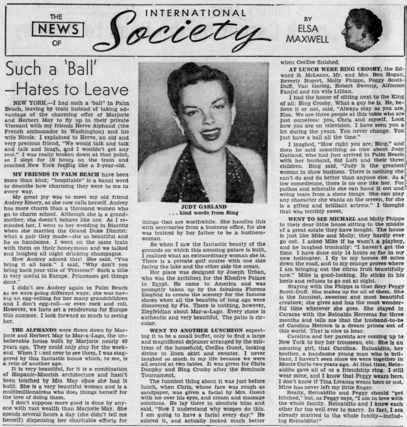 Judy Garland in Elsa Maxwell column