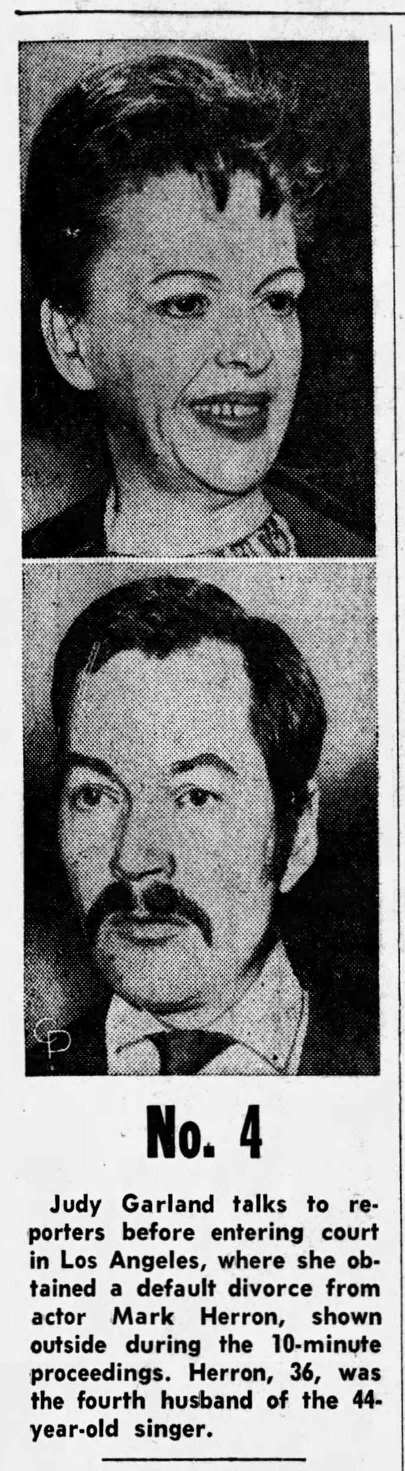 Judy Garland divorces Mark Herron, 1967