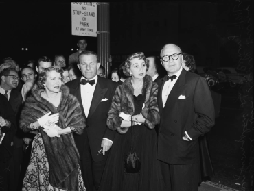 Gracie Allen; George Burns; Mary Livingston; Jack Benny arrive at Judy Garland's opening at the Los Angeles Philharmonic April 21, 1952