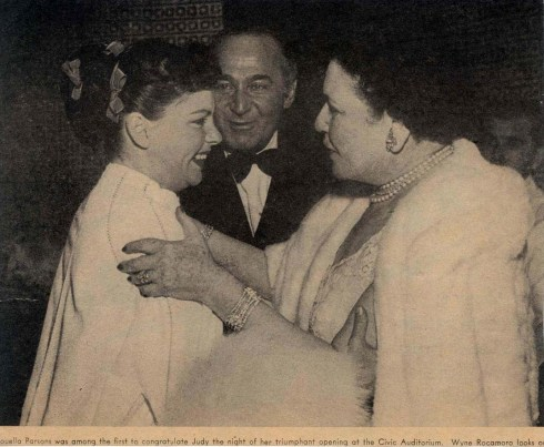 Judy Garland, Louella Parsons, and Wyne Rocamoro at Romanoff's after Garland's Los Angeles Philharmonic opening night April 21, 1952