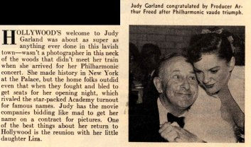 Judy Garland and Arthur Freed at Romanoff's after Garland's Los Angeles Philharmonic opening night April 21, 1952