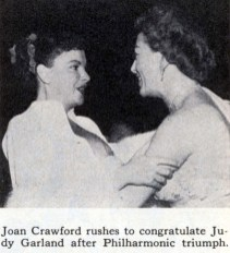 Judy Garland and Joan Crawford at Romanoff's after Garland's Los Angeles Philharmonic opening night April 21, 1952
