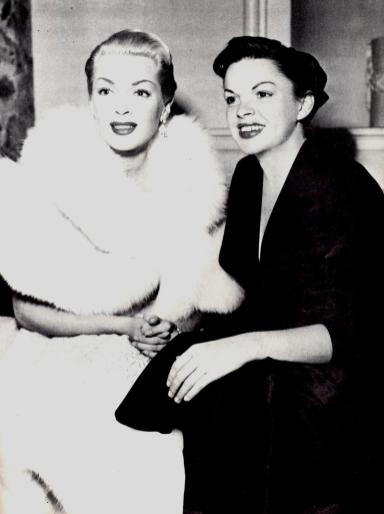 Judy Garland and Lana Turner at Romanoff's after Garland's Los Angeles Philharmonic opening night April 21, 1952