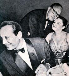 Judy Garland, Sid Luft, and Jack Benny at Romanoff's after Garland's Los Angeles Philharmonic opening night April 21, 1952