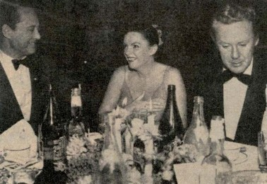Judy Garland , Sid Luft, Van Johnson at Romanoff's after Garland's Los Angeles Philharmonic opening night April 21, 1952