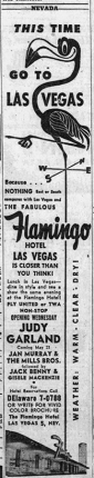 Judy Garland at the Flamingo in Las Vegas May 1957
