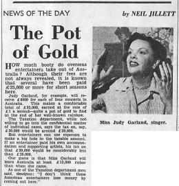 """Judy Garland in Australia by Neil Jillett of """"The Age"""""""