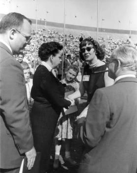 May-11,-1958-Barbara-Flanagan-(right)-and-Judy-speaking-at-Memorial-Stadium-in-Minneapolis