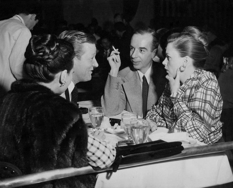 Sylvia Sydney, Carlton Alsop, Vincente Minnelli, Judy Garland on the town in Hollywood, January 30, 1948