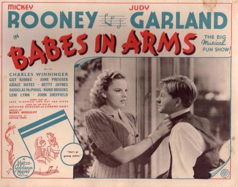 """UK lobby card for """"Babes In Arms"""" starring Judy Garland and Mickey Rooney"""