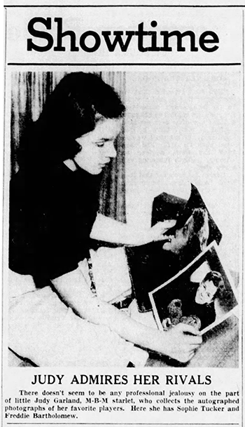 Judy Garland admires her rivals May 12, 1938