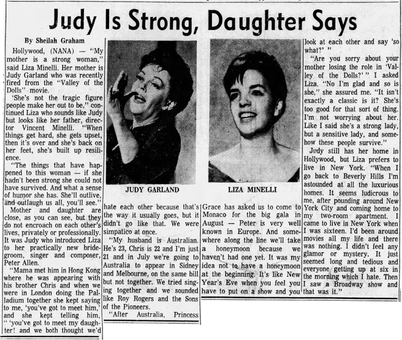 Judy Garland is strong, says daughter Liza Minnelli