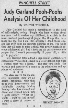 Judy Garland Pooh-Poohs Analysis Of Her Childhood