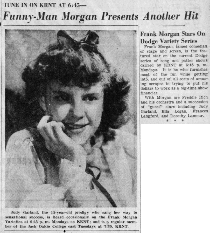 Judy Garland on Frank Morgan's Varieties June 21, 1937