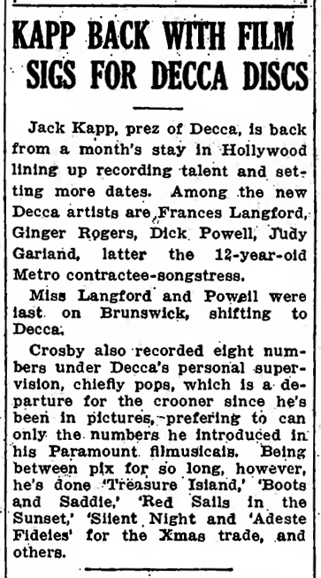 Judy Garland signs with Decca Record December 1935