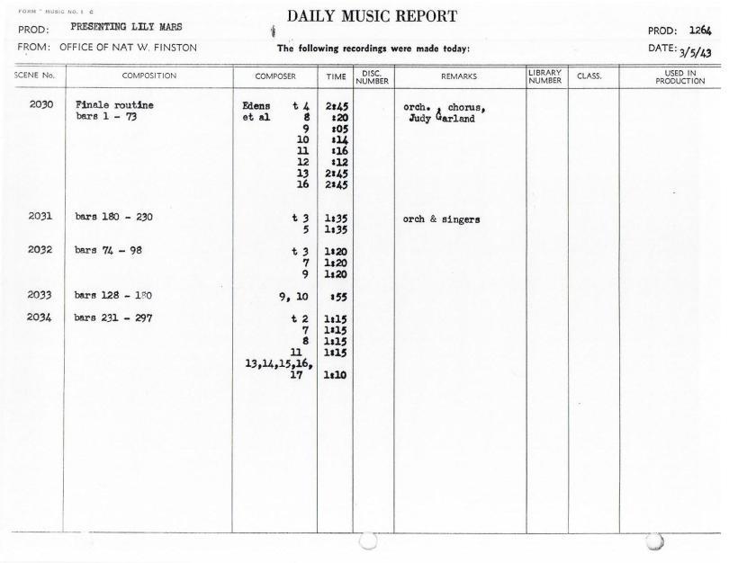 March 5, 1943 - Finale Routine