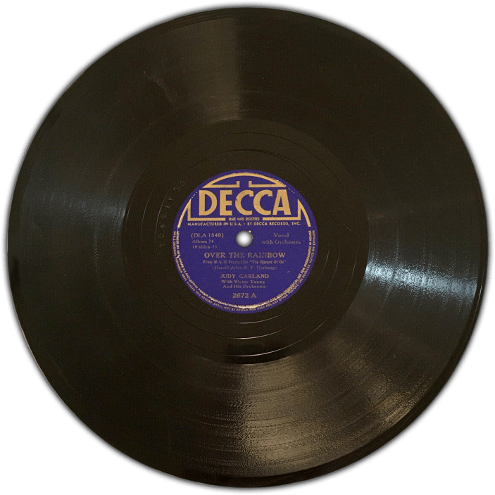 Judy Garland sings Over the Rainbow on Decca Records