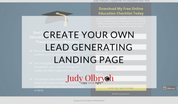 Create Your Own Lead Generating Landing Page
