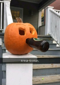 Halifax Halloween pumpkin. Hope that's a Keith's it's drinking.