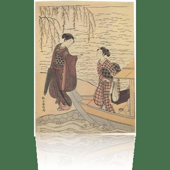柳の川岸 春信