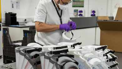 Photo of 3D-printed protective visors for NHS staff on the coronavirus frontline