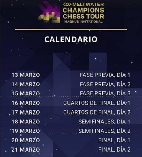 Magnus Carlsen Chess Tour 13-03-2021-Calendario